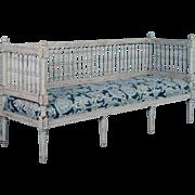 Antique 19th Century Swedish Gustavian Bench Painted Gray