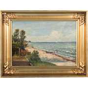 Original 19th Century Antique Danish Seascape Oil Painting, Signed G Raedel