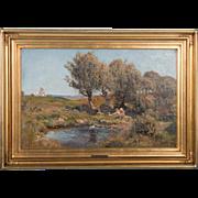 Original 19th Century Antique Oil Painting of Children Playing Near a Windmill, Signed Viggo Pedersen