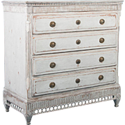 Antique 19th Century Swedish Gustavian Chest of Drawers Painted Gray
