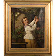 Signed Original Antique Danish Oil Painting, Portrait of Woman in a Greenhouse, Edvard Lehmann, Dated 1869