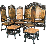 Antique Swedish 7 Piece Living Room Set with Original Black Paint and Embossed Leather, circa 1880