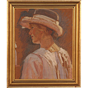 Original Antique Danish Impressionist Oil Painting, Portrait of a Young Woman Wearing a Hat, circa 1920