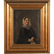 Small Original 19th Century Antique Oil Painting, Portrait of a Danish Woman, circa 1840-1860