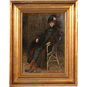 Original Antique Danish Oil Painting, Portrait of a Lady Lounging in a Chair, S. Jurgensen 1920