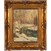 Original Antique Winter Landscape Oil Painting with a Winding Stream in a Birch Forest, Signed Jens Bennedson