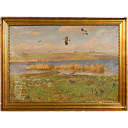 Original Antique Landscape Painting of Shore Birds in a Marsh, Signed C. Hoyrup, circa 1920