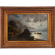 Large Original Antique Danish Marine Painting of a Moonlit Fishing Village, circa 1840