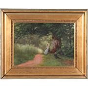 Antique Oil on Canvas Painting of Mother and Son, Denmark, circa 1900