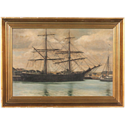 Antique Marine Oil on Canvas Painting, Two-Masted Schooner, Signed V. Helsted