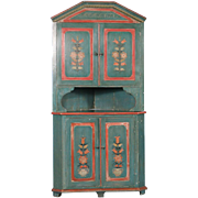 Antique Swedish Original Green Painted Corner Cabinet, circa 1840-1860
