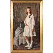 Large Oil on Canvas Painting, Full Portrait of Young Girl in a White Dress