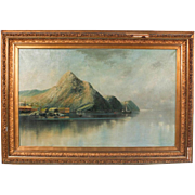 Large Antique 19th Century Norwegian Oil Painting of Sea Harbor with Mountains