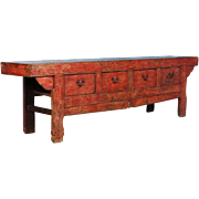 Large 18th Century Antique Chinese Red Lacquered Sideboard Console