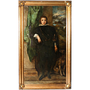 Large 19th Century Original Oil Painting, Young Noble Boy and His Dog