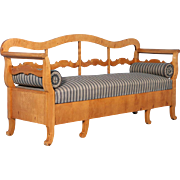 Antique 19th Century Karl Johan Yellow Birch Bench Sofa From Sweden