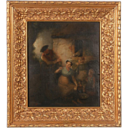 Original Oil on Panel Painting, the Cat & Mouse Attributed to Joseph Paulman, 1821