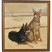 Large Original Oil on Canvas Painting of 2 German Shepherds, signed C. Hoyrup, circa 1910