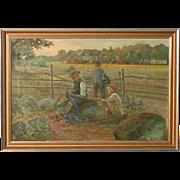Original Oil on canvas Painting; Children Making Flower Garlands, circa 1920