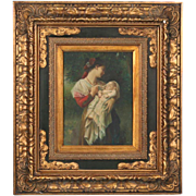 Original Oil on Panel Painting of Mother and Child, Unidentified Artist, Signed
