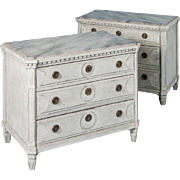Pair of Antique 19th Century Gray Gustavian Painted Chest of Drawers from Sweden