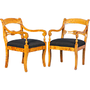 Pair of Antique 19th Century Swedish Birch Arm Chairs, circa 1890