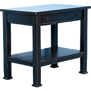 Country 19th Century Pine Side Table Painted Black, circa 1880