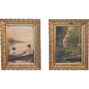 Small Pair of 19th Century Paintings, Boating Couple and Woman on Shore