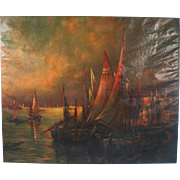 Extra Large Oil on Canvas Painting of Venice Harbor, Signed P. Franc Lamy and titled 'Venise 1905'