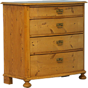 Antique Pine Bow Front Chest of Drawers, Denmark circa 1850-70