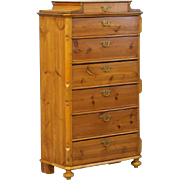 "Antique 19th Century Pine 7 Drawer ""Highboy"" Chest of Drawers, Sweden circa 1850-70"