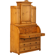 Antique 19th Century Pine Secretaire with Hidden Compartment, Denmark, circa 1840