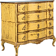 Antique 18th Century Yellow Rococo Chest of Drawers, Denmark circa 1770
