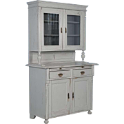 Antique 19th Century Gray Painted Romanian Cupboard Cabinet, circa 1880