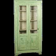 Antique 19th Century Original Painted Green Corner Cupboard, Sweden Circa 1880