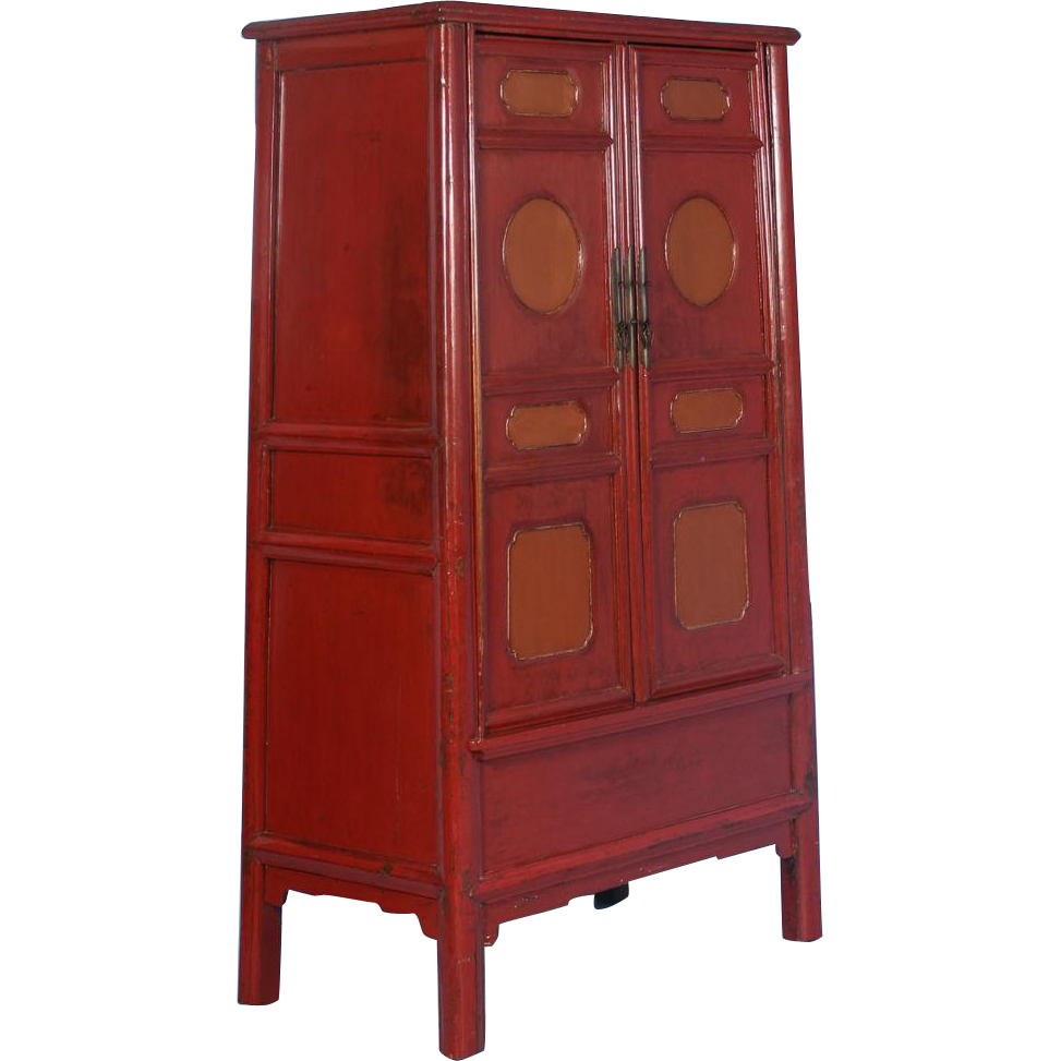 19th Century Antique Lacquered Chinese Cabinet With