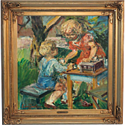Original Oil on Canvas Painting of Boy and Girl Playing Tea Party Signed Ludvig Jacobsen
