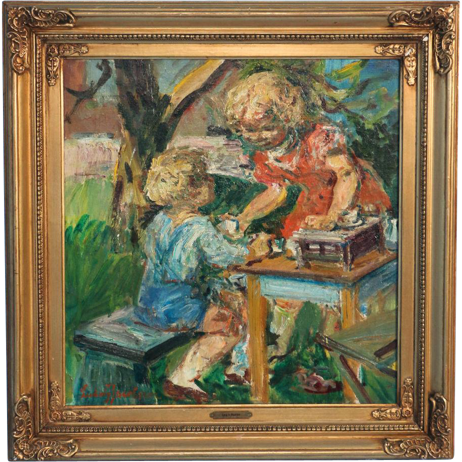 Original Oil On Canvas Painting Of Boy And Girl Playing