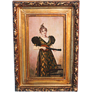 Antique Oil on Panel Painting of Young Woman With Musical Instrument