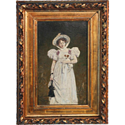 Wald Sichelkow Antique Oil on Panel Painting of Young Woman and Dog