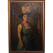 Original Oil on Canvas Portrait of a Standing Woman with Hat and Feather, Signed & dated Vigeland 1909