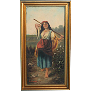 Original Antique Italian Oil on Canvas Painting, Young Peasant Woman with Stick