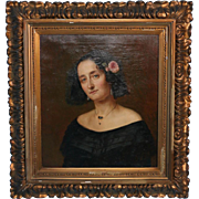 Original Antique Oil on Canvas Painting, Portrait of Fanny Magdalena of Eckenbrecher, 1800's