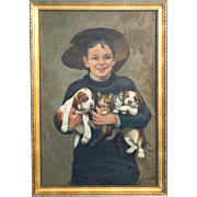 Original Oil Painting on Canvas of a Boy with Puppies and Kittens, signed Oswald