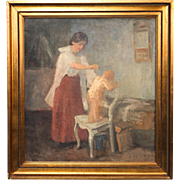 Original Oil on Canvas Painting of Mother Bathing Child, signed by Henrik Schouboe