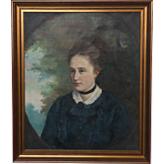 Original Antique Oil on Canvas Painting, Portrait of Young Woman circa 1900's
