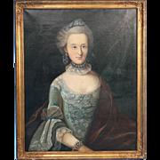 Original Oil on Canvas, Portrait of Elegant Christine Middelboe, 1937