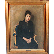 "Original Antique Oil on Canvas Painting, ""Portrait of My Wife,"" by Ole Petersen"