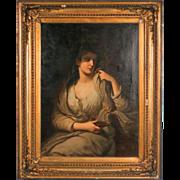 Original 19th Century Antique Oil Painting of Vestal Virgin Holding Oil Lamp