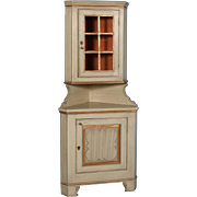 Antique 19th Century Gray Painted Corner Cabinet from Hungary, circa 1860